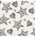 Seamless stars and hearts pattern vector image vector image