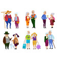 senior man and woman activities grandparents day vector image vector image