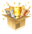 set gold silver and bronze trophies vector image vector image