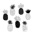 set of black and white abstract pineapples vector image vector image