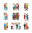 set of celebrating family holidays people vector image vector image