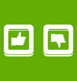signs hand up and down in squares icon green vector image vector image