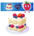 tasty triple berry tiramisu cake icon on white vector image