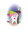 tooth with a toothbrush for christmas vector image vector image