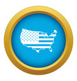 usa map icon blue isolated vector image vector image