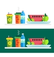 Vegetarian food shop market object icons vector image