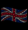 waving british flag collage of scuba diver items vector image