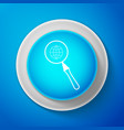 white magnifying glass with globe icon isolated vector image