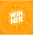 winner concept with white thin line icon set vector image vector image