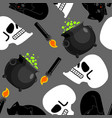 witch pattern magical pot and skull black cat and vector image vector image