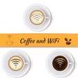 Coffee cups and wifi symbol vector image
