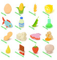 allergy free icons set food isometric style
