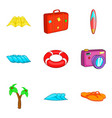assemble a suitcase icons set cartoon style vector image vector image