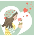 Beautiful girl in love with rose vector image vector image