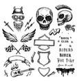 bikers doodles set hand drawn design elements vector image vector image