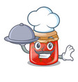 chef with food fresh tasty strawberry jam on vector image