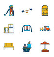 children entertainment icons set flat style vector image