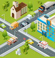 city crossroad traffic intersects cars moving vector image