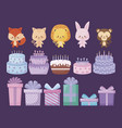 cute animals with sweet cakes and gift boxes vector image vector image