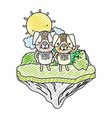 doodle couple dog animal in the float island vector image vector image