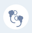 earbud headphones icon on white vector image vector image