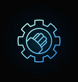 fiber optic cable in gear blue linear icon vector image vector image