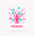 fireworks thin line icon vector image vector image