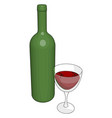 glass wine on white background vector image