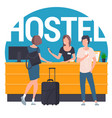 guests at hostel lobby vector image vector image
