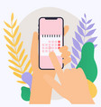 hand holding mobile smart phone with calendar vector image vector image