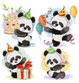 happy birthday set with bapanda bears vector image vector image
