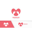 heart and hands logo combination love vector image vector image