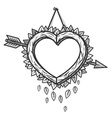 heart wooden frame with arrow vector image vector image