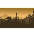 Landscape Stegosaurus silhouette in hills vector image vector image