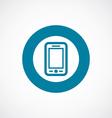 mobile phone icon bold blue circle border vector image