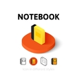 notebook icon in different style vector image vector image
