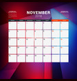 november 2018 calendar planner design template vector image