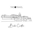 one continuous line drawing buda castle landmark vector image
