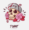 poster card or t-shirt print with skull and roses vector image vector image