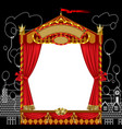 puppet show booth with theater masks red curtain vector image