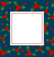 red berry christmas on indigo blue banner card vector image vector image