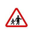 red triangle school crossing road sign vector image