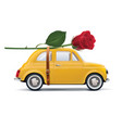 retro car with red rose isolated on white vector image vector image