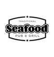 seafood vintage sign black logo vector image