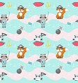seamless pattern with cute pirate animals vector image vector image