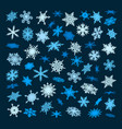 set of blue snowflakes falling in different vector image