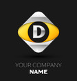 silver letter d logo in the silver-yellow square vector image vector image