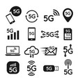 Standard 5g icon set for internet and phone