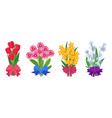 summer bouquets cartoon bunches flowers tied vector image