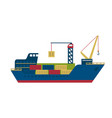 tanker cargo ship with containers vector image vector image